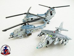 USMC air power (Mad physicist) Tags: usmc lego aircraft military harrier av8b blueknights seaknight ah1w supercobra ch46e hmm365