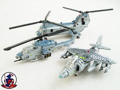 USMC air power (Mad physicist) Tags: usmc lego aircraft military harrier av8b blueknights seaknight ah1w supercobra ch46e hmm365