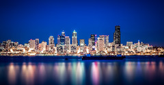 Seattle Skyline At Night (Mark Hopkins Photography) Tags: seattle city longexposure water skyline architecture buildings landscape lights washington pugetsound bluehour