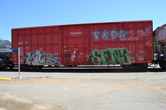 (huntingtherare) Tags: train sens graffiti boxcar miles freight sry catalyst rollingstock prak benching