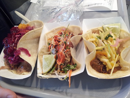 Turkey Dinner (left), Pork Bahn Mi (middle), Curried Lamb (right) Taco