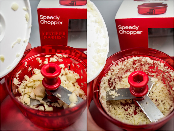 Tupperware Speedy Chopper - with a few pulls, you can finely chop garlic