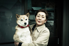 Landlady and Her Dog (moaan) Tags: woman dog digital 50mm affection profile utata aomori bond shiba northeast mixedbreed kana 2012 travelogue  f12 landlady yagen explored ef50mmf12lusm canoneos5dmarkiii  bondsofaffection