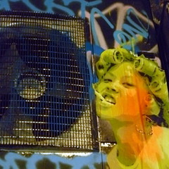 girls, fun and ventilation (DREASAN) Tags: streetart pasteup grafitti smoking grinning ventilation asiangirl curlers