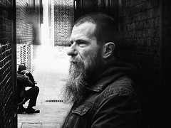 two strangers two lives (White_V) Tags: life street light man men london canon beard candid strangers wb lives 2012 whiteandblack twostrangers