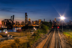 Love Life (Brian Koprowski) Tags: park city light sunset chicago skyline architecture night evening downtown track pentax searstower traintracks 18thstreet chase drawbridge bluehour chicagoriver hancock trump aon hdr pingtommemorialpark attcorporatecenter willistower pentaxk5 briankoprowski bkoprowski