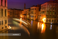 Venice at night. (arturii!) Tags: city trip travel bridge venice light sea reflection water beauty night speed wow island boat canal amazing movement holidays colorful europa europe italia tour superb awesome great route exposition stunning nocturna viatge venecia venezia vacations impressive channel gettyimages mediterrenean timing veneto vaporeto interestin canoneos400d colorphotoaward arturdebattk