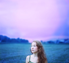 See (Beata Rydn) Tags: pink blue portrait sky woman cold girl field square photography evening photo eyes poetry looking country whatdoyousee human tungsten visual simple pinksky visualpoetry beata ryden aftersunset expanded coldtones rydn beatarydn
