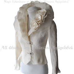Bridal Jacket Felted Ivory Long Sleeves /SPLENDOUR/ Merino / Silk, Tulle,Roses Corsage, Rhinestones Closure,US size 6 (ArtTiana{TianaCHE on Etsy}) Tags: winter fashion engagement designer handmade brooch victorian graduation silk ivory craft wrap felt merino prom romantic wearableart accessories vest weddings etsy bridal hochzeit luxury couture rhinestones shrug handcraft jacke facebook fallwinter  fallfashion weddinggown bolero  braut  outerwear    twitter    bridesmade     tianache bridalshrug       dasbrautkleid etsybolero   feltedbolero wedlux newyorkbolero fiancebolero silkbolero