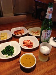 Korean Appetizers and Tsingtao Beer!! @Qiannian, Gubei, Shanghai (Phreddie) Tags: china food hot beer dinner restaurant shanghai tofu pot korean tang gubei doufu jjiae qiannian