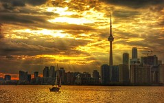 Toronto evening (Westhamwolf) Tags: city lake toronto ontario canada tower cn evening boat sailing capital