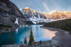 Lake Moraine Sunrise (Blu3ness) Tags: park lake nature beautiful sunrise canon wow landscape louise national banff hdr moraine