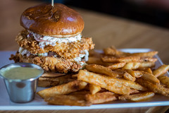 Fried Chicken Sandwich (EvanJawnson) Tags: arizona food chicken 50mm nikon az sandwich fries brewery slaw pickles nikkor fried friedchicken bun coleslaw tempe foodie chickensandwich gastropub nikonusa d7100 nikond7100