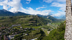 View from the ramparts (sabrandt) Tags: alps castle switzerland ruins valley wallis sion valais tourbillon