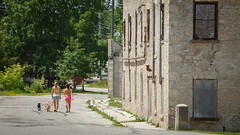 Summer Heat (Bert CR) Tags: street hot dogs weather colorful streetphotography bikini elora derelictbuildings dogwalkers hotweather summerheat