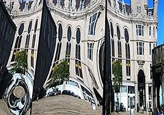 Castlegate reflections 14a (Golux.) Tags: distortion reflection square mirror scotland artwork photographer distorted citadel reflected aberdeen installation granite flagstone castlegate