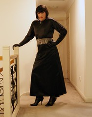 Black Encounter (1) (Furre Ausse) Tags: black leather belt dress boots skirt gloves satin dominant governess