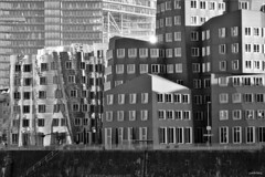Concrete Jungle - Black White (cokbilmis-foto) Tags: city windows white black building architecture facade germany frank concrete harbor media cityscape waterfront harbour sony gehry jungle nrw dusseldorf dsseldorf rhine rhein duesseldorf peer buidlings medienhafen stadttor rx100