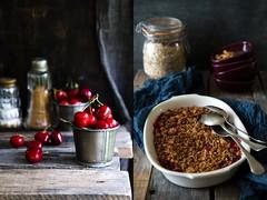 Crumble oat and honey cherries (Patrizia Miceli - Via delle rose) Tags: crust dessert miele dolci ciliegie crumbles avena anacardi briciole fotocibo