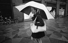Umbrella series (__ _) Tags: urban blackandwhite film girl rain contrast umbrella 35mm finland photography europe european candid trix grain streetphotography scene expressive rodinal tones expiredfilm selfdeveloped streetportraiture truebw