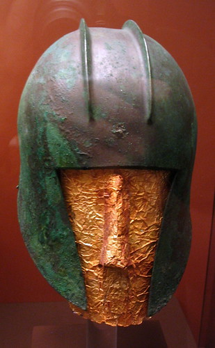 Illyrian-type helmet with gold funerary mask