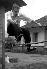 And the teachers are jumping too... (gornabanja) Tags: family blackandwhite india man sport fun blackwhite jump nikon d70 action husband kerala teacher highjump blinkagain