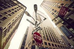 Financial District (dkshots) Tags: street new york nyc newyorkcity signs ny newyork sign wall analog vintage market district stock financialdistrict stop stopsign roadsign pearl oneway wallstreet financial exchange stockexchange wallst pearlstreet directionsign pearlst allway