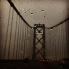 the rain is back!  Yay. (mochiland) Tags: california baybridge iphone mochiland