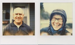 Two years later... (daveotuttle) Tags: mom polaroid sx70 diptych dad testfilm yearslater px70 impossibleproject momsabitblownout butdadcamethroughnicely batch1211