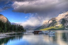 Lake Minnewanka (Thankful!) Tags: sunlight mountain lake rain rockies shower evening banff banffnationalpark lakeminnewanka
