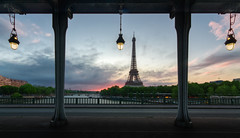 Framed (Michel Couprie) Tags: street bridge light sky paris france monument lamp seine clouds sunrise river angle eiffeltower eiffel frame pont birhakeim