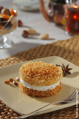 Konafa (Sameh Wassef) Tags: food black color vertical table dessert photography photo yummy colorful shot cattle dish image tea nuts egypt picture creme eat vision honey sweets studioshot eatable nutrition orientaldessert