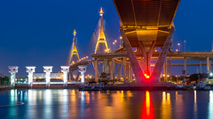 Bhumibol Bridge 1, Thailand, (BirDiGoL) Tags: road bridge sky urban detail building water architecture project river thailand evening bay design solar high twilight construction highway industrial commerce power view cross suspension bangkok scenic engineering cable landmark ring transportation freeway thai roller huge panels chao pylons coaster hang connection connect spans mega phraya bhumibol modernscene