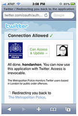 Metropolitan Police and Twitter Oauth (danhon) Tags: fiction offence publicorder twitter oauth metropolitationpolice