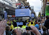 Atmosphere Manchester City Premier League Title victory parade. Players and staff of Manchester City parade the English Premier League Trophy through the city centre from an open-top bus. Manchester, England