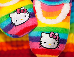 Day 82 of 365 - Year 2 (wisely-chosen) Tags: selfportrait me rainbow hellokitty stripes february slippers 2012 cameraraw 365days canonspeedlite430exii adobephotoshopcs5