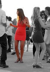 A Woman in Red (ybiberman) Tags: party portrait woman israel telaviv dancing mini reddress minidress adrink