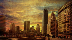 an old flame (Kris Kros) Tags: california ca new old panorama art texture buildings square la losangeles los downtown cityscape skyscrapers time angeles touch an flame kris after pershing kk textured kkg timeaftertime kros kriskros anoldflame kkgallery