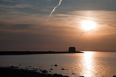 Aughinish Sunset (Lara O'Connell) Tags: sunset sea tower clare jet calm trail tranquil martello kinvara aughinish