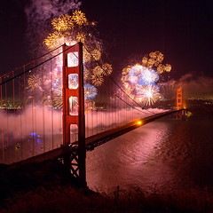 Golden Gate Bridge 75th Anniversary Fireworks Square (Rob Kroenert) Tags: sanfrancisco california birthday ca bridge tower golden bay gate san francisco display fireworks anniversary marin sunday north battery may goldengatebridge headlands spencer 75 27 75th 2012