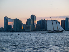 jersey-city-at-dusk-with-sailboat (dandeluca) Tags: new york sunset skyline sailboat river jerseycity hudson
