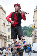 A Balanced Performance (Vibrimage) Tags: bath streetperformers jubilee somerset acrobat tightrope bathspa violinist romanbaths garters jubileesocks
