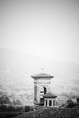 Bergamo (ingephotography) Tags: bergamo italy italia italië tower toren black white bw zwart wit zw cross kruis old italian town city italisch stadje stad oud