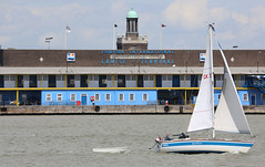 Gamekeeper sailing past Tilbury Cruise Terminal (Uretopia) Tags: thames boat sailing tilbury gravesend cruiseterminal