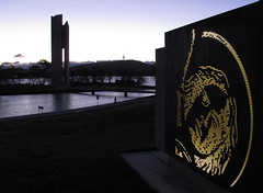 Evening view to Black Mountain across Lake Burley Griffin (spelio) Tags: act australia canberra lakeburleygriffin sunset evening lake water lowlight handheld june 2012 police memorial plaque nationalgeographic good monument australiancapitalterritory fave