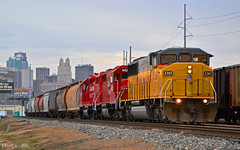"""Eastbound Transfer in Kansas City, MO (""""Righteous"""" Grant G.) Tags: city railroad up train pacific union railway trains canadian east missouri kansas locomotive transfer cp eastbound emd"""