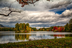 Fall-At-The-Resevoir (desouto) Tags: flowers sky nature water clouds stream stones lakes ponds hdr