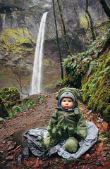 waterfall baby (manyfires) Tags: autumn boy portrait baby fall film oregon analog 35mm landscape waterfall child hiking path son hike nikonf100 trail henry pacificnorthwest gorge pnw columbiarivergorge elowah peoplescape elowahfalls