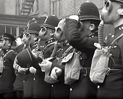 1937. London UK Metropolitan Police Officers Training At Harrow Road Police Station In Anti Gas Precautions. (sgterniebilko) Tags: uk london 1930s ww2 30s 1937 londonpolice antigas gasmasks scotlandyard metropolitanpolice 1829 sirrobertpeel policelondon