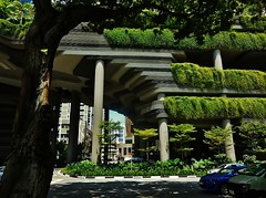 city contours (SM Tham) Tags: road street plants building tree cars architecture outdoors hotel singapore asia landscaping columns terraces vehicles shade hanginggardens pickeringroad attorneygeneralschambers parkroyalonpickering